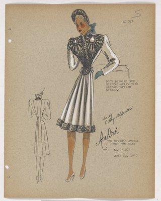 Coat with Fur on Bodice and Border, with Blue Gloves