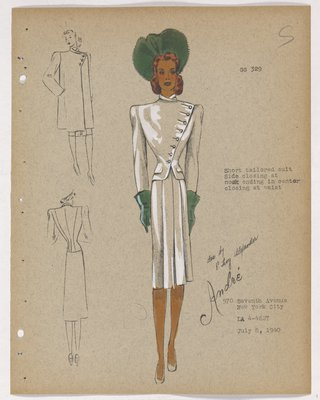 Suit with Buttons along Diagonal Closing, with Green Hat and Gloves