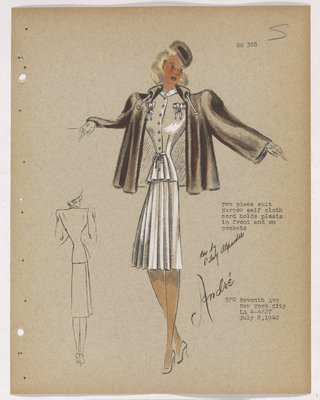 Suit with Cloth Ties and Pleated Skirt, with Brown Outer Jacket