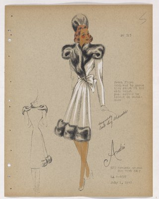 Coat with Bow at Waist and Black Fur on Bodice and Border