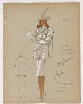 Surcoat with Four Flap Pockets and Sand Colored Hat