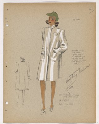 Coat with Large Patch Pockets and Green Hat