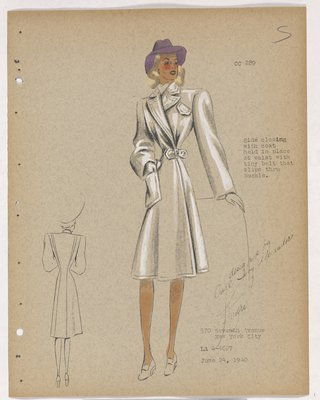 Coat with Side Closing and One Patch Pocket, with Purple Hat