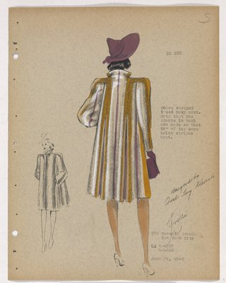 Boxy Coat with Orange and Purple Stripes and Purple Hat