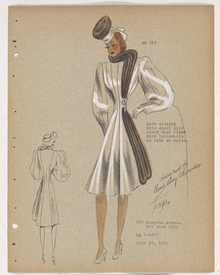 Coat with Brown Fur along Closing and Sword Button at Waist