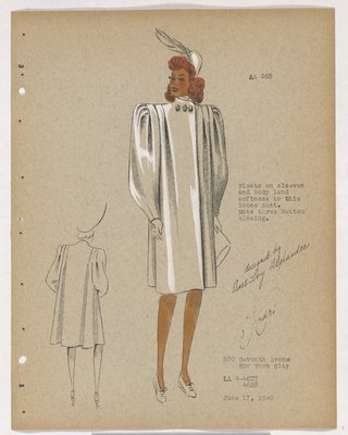 Coat with Pleats on Sleeves and Three Buttons at Neck