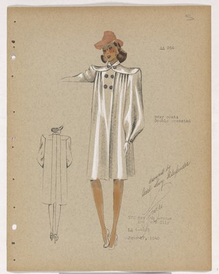 Boxy Coat with High Double-Breasted Buttons, with Pink Hat