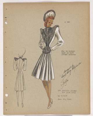 Coat with Fur on Bodice Ending in Muff Effect, with Front Fullness