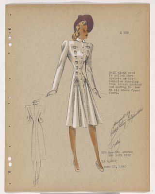 Coat with Cloth Cord Pulled through Holes in Bodice, with Purple Hat
