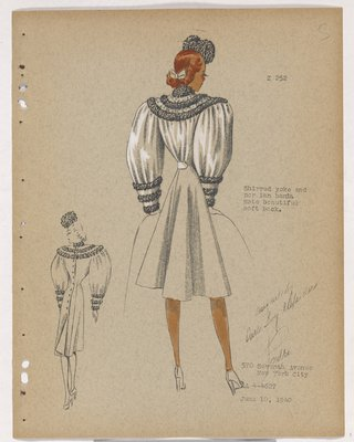 Coat with Shirred Back and Sleeves, with Fur Bands on Yoke and Cuff