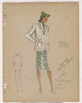 Surcoat with Patch Pockets, over Green Plaid Skirt, with Green Hat