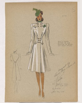 Coat with Group of Six Buttons at Neck and Waist, with Green Accessories