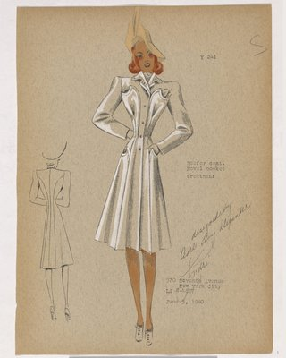 Coat with Crescent-Shaped Pockets and Peach Colored Hat