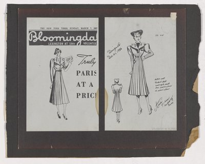 Copies of Bloomingdale's Ad and Sketch for Fitted Coat with Pleated Skirt