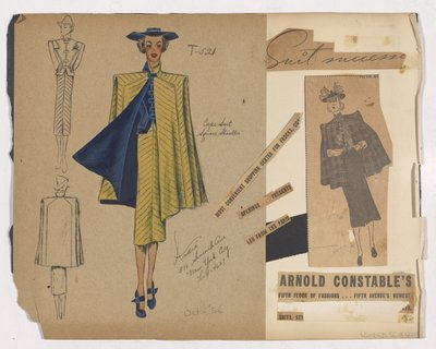 Colored Sketch and Newspaper Clipping of Arnold Constable's Ad for Cape Suit