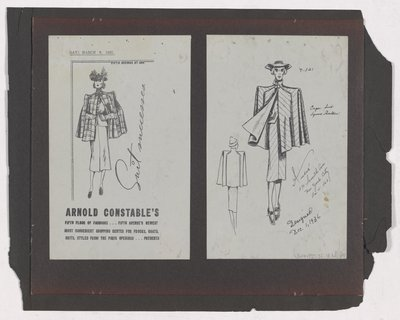 Copies of Arnold Constable's Ad and Sketch for Cape Suit
