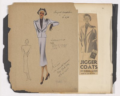 Colored Sketch of Tailored Suit and Newspaper Clipping of Ad for Jigger Coats