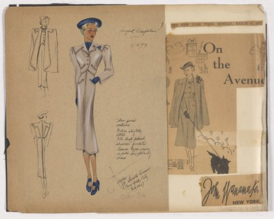 Colored Sketch and Newspaper Clipping of John Wanamaker's Ad for Three Piece Cosutme Suit