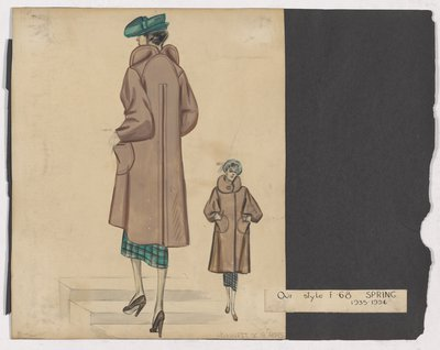 Sketch of Pale Brown Coat over Green Plaid Skirt