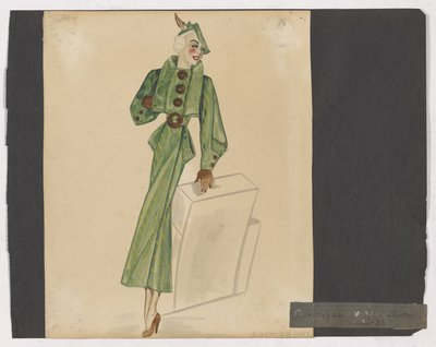 Sketch of Green Coat with Brown Buttons and Gloves