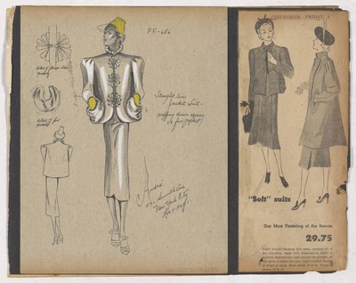 Colored Sketch and Newspaper Clipping of Ad for Jacket Suit with Flower Buttons