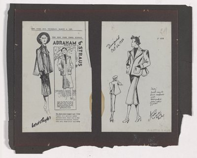 "Copies of Lord & Taylor and Abraham & Straus Ads and Sketch for ""Tomboy"" Suit"