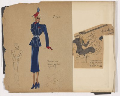 Colored Sketch and Newspaper Clipping of Franklin Simon Ad for Tailored Suit