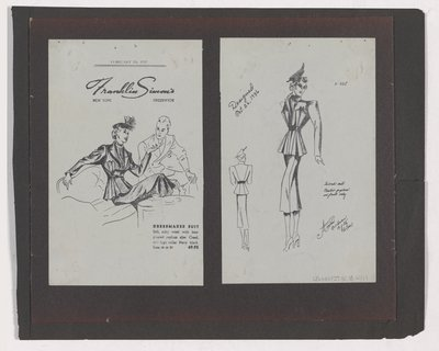 Copies of Franklin Simon's Ad and Sketch of Tailored Suit