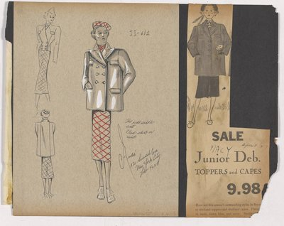 Colored Sketch of Short Coat and Newspaper Clipping of Macy's Ad for Junion Topper
