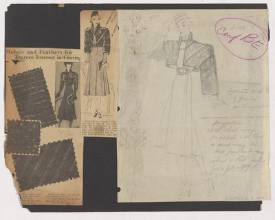Newspaper Clippings of Ads and Pencil Sketch for Coat with Bolero Jacket