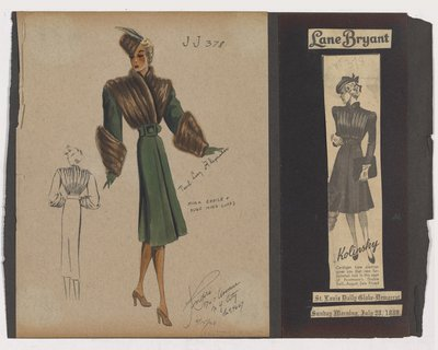 Colored Sketch and Newspaper Clipping of Lane Bryant Ad for Coat with Fur Bodice