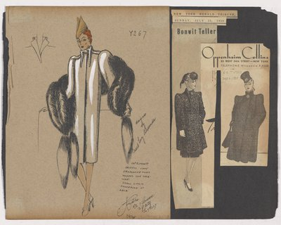 Colored Sketch and Newspaper Clippings of Bonwit Taylor and Oppenheim Collins Ads for Boxy Coat with Stand-Up Collar