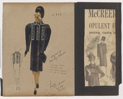 Colored Sketch and Newspaper Clipping of Mccreery Ad for Fur-Trimmed Coat
