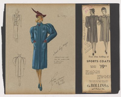 Colored Sketch and Newspaper Clipping of Rollins Co Ad for Boxy Coat with Single Button