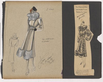 Colored Sketch and Magazine Clipping of Ad for Coat with Fur Collar and Border