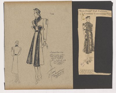 Sketch and Magazine Clipping of Ad for Coat with Fur Panels