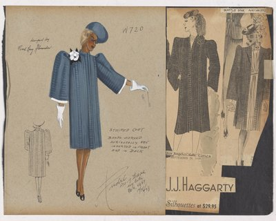 Colored Sketch and Newspaper Clipping of Ad for Boxy Striped Coat