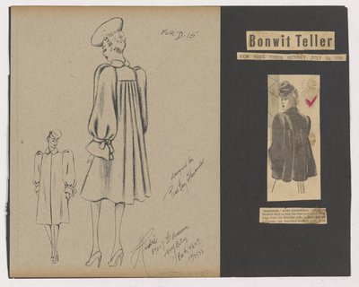 Sketch and Newspaper Clipping of Bonwit Teller Ad for Coat with Shirring Below Yoke