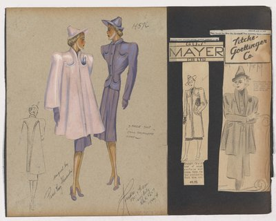 "Colored Sketch and Newspaper Clippings of Gus Mayer and Tiche-Goettinger Ads for ""Doll Silhouette"" Coat"