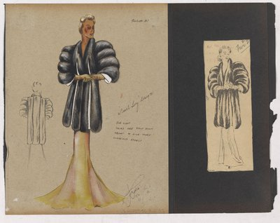 Colored Sketch and Clipping of Ad for Fur Coat over Evening Dress