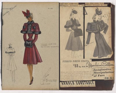 Colored Sketch and Newspaper Clippings of Arnold Constable and Oppenheim Collins Ads for Coat with Pelerene