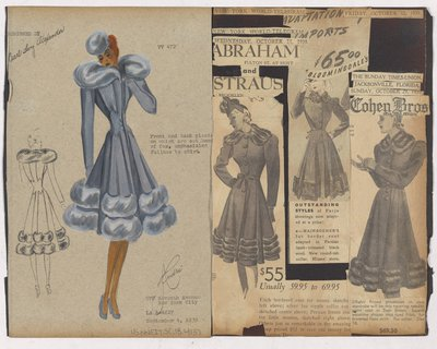 Colored Sketch and Newspaper Clippings of Ads for Coat with Fur Bands on Skirt