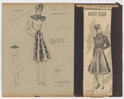 Black & White Sketch and Newspaper Clipping of Bonwith Teller Ad for Coat with Front Flare of Fur