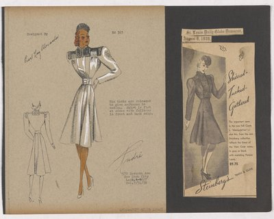 Colored Sketch and Newspaper Clipping of Steinberg's Ad for Coat with Tucks on Bodice
