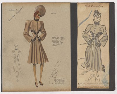 Colored Sketch and Newspaper Clipping of Ad for Coat with Fur Strips at Waist