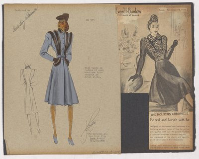 Colored Sketch and Newspaper Clipping of Everitt-Buelow Ad for Coat with Fur Bands on Bodice