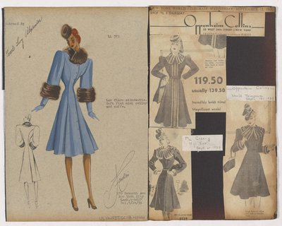 Colored Sketch and Newspaper Clippings of Oppenheim Collins and Mccreery Ads for Coat with Fur Collar