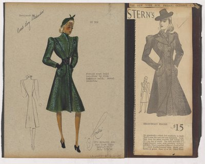 Colored Sketch and Newspaper Clipping of Stern's Ad for Coat with Patch Pockets