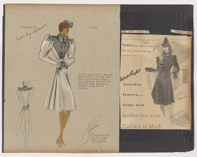 Colored Sketch and Newspaper Clipping of Lord & Taylor Ad for Coat with Looped Fur Collar