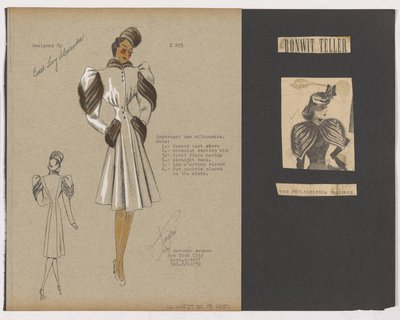 Colored Sketch and Newspaper Clipping of Bonwit Teller Ad for Diagonal Fur Strips on Sleeve